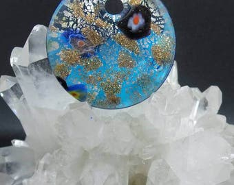 Blue and Gold Murano Glass  Pendant.