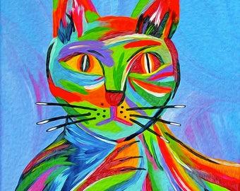 Cat Illustrations. Abstract Cat Art Print. Cat Lady Gift. Wall Art Cats. Giclee Print entitled Bad Karma.