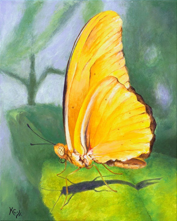 Original Realistic Butterfly Painting, Yellow Butterfly Art, Butterfly Picture, Artwork with Butterflies, Insects, Acrylic on Canvas.