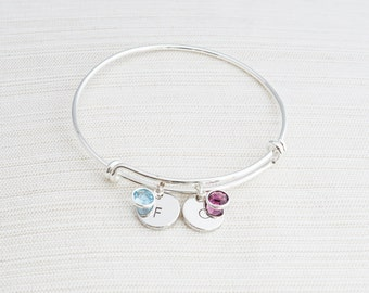 Silver Initial & Birthstone Bangle, Personalised Bracelet, Birthstone bracelet
