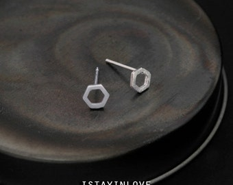 Sterling Silver Geometry Tiny Hexagon Earring | Geometry Jewelry I Personalized Gift