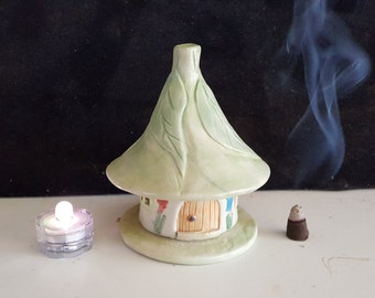 Pottery Fairy Incense House, Fairy Garden, Mosquito Repellent Incense House, Night Light.