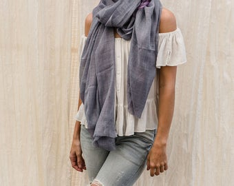 Blue Grey Silk Wool Scarf, Long Thin Wrap Scarf, Super Soft And lightweight Scarf, Gift for Her