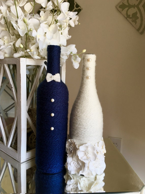 bride and groom wine bottles bridal shower decor wedding