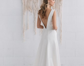 Simple Wedding Dress Ivory Satin Dress Bridal Gown,Open Back Wedding Dress Classic Gown Dress Long Ivory Dress- STELLA