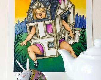 Digital art print on paper, Alice in the white rabbit house