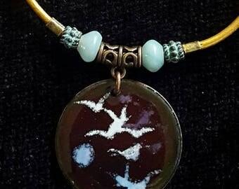 Copper Enamel Pendant, Birds and moon design