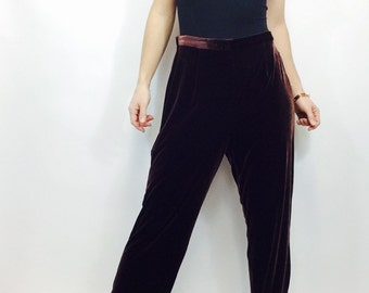 Vintage 90s pants vintage velvet pants chocolate velvet pants leg pants size med velvet pants high waisted pants vintage high waisted pant