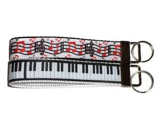 "Piano musical keychain wristlet, key fob, 5"" musical notes key fob, piano keys keychain, music chords party favor key fob you choose!"