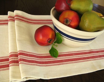 Farmhouse Table Runner - Grain sack Table Runner - Country Table Decor - Natural and Red Stripe Runner