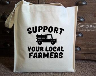 Support Your Local Farmers Cotton Canvas Market Bag | Tote Bag | Reusable Grocery Bag | City Market Bag | Shopping Bag | River Market Bag