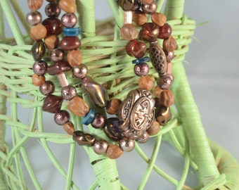 Tri-Strand Mixed Media Seed and Bead Bracelet