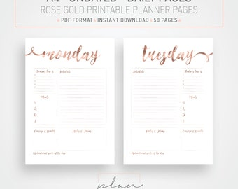 A4, Undated printable planner pages, Rose Gold Planner Pages, Organizer pages, Minimal Planner, Planner Pack, Organizer printable