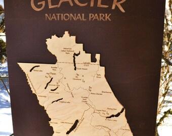 Glacier National Park Wood Map