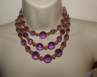 Signed NAPIER Vintage 3 Strand Necklace, Purple Faceted Beads, Gold Tone
