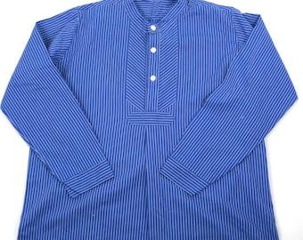 German vintage Fisherman's smock shirt/Germany/blue stripe/pullover/work shirt/chore shirt