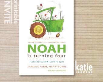 kids invitation - green tractor  - farm invitation - tractor invite - childrens invitation -  printable invitation - chicken invite
