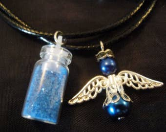 Beautiful angel Wishing Set - Fairy Dust Necklace and Glass Pearl Angel Necklace - Blue Set - Wishing Angels