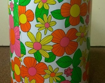 1960's FLOWER POWER Groovy Metal Can with Lid