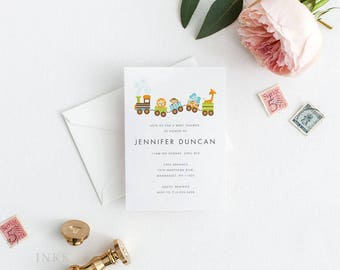 Printable Baby Shower Invitation Printable - Happy Choo Choo Train Baby Shower Invitation Card PDF - Letter or A4 Size (Item code: P252)