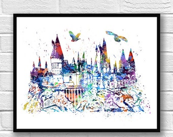 Hogwarts Castle Watercolor Print, Harry Potter Art, Movie Poster, Watercolor Print, Home Decor, Wall Art, Kids Room Decor, Room Decor - 334