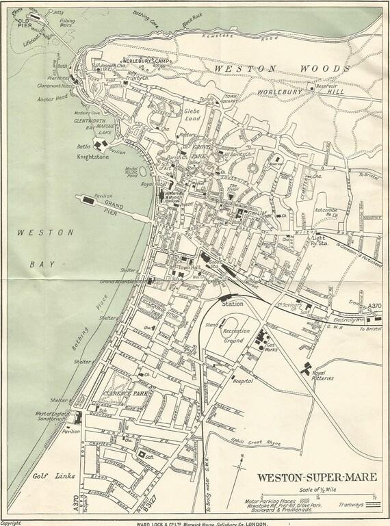 mapa de la dcada de 1920 antiguos de weston super mare