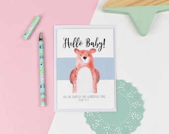 New baby Luxury card - You are fearfully and wonderfully made - Baby card -  Christening Card - Dedication Card - New Baby card
