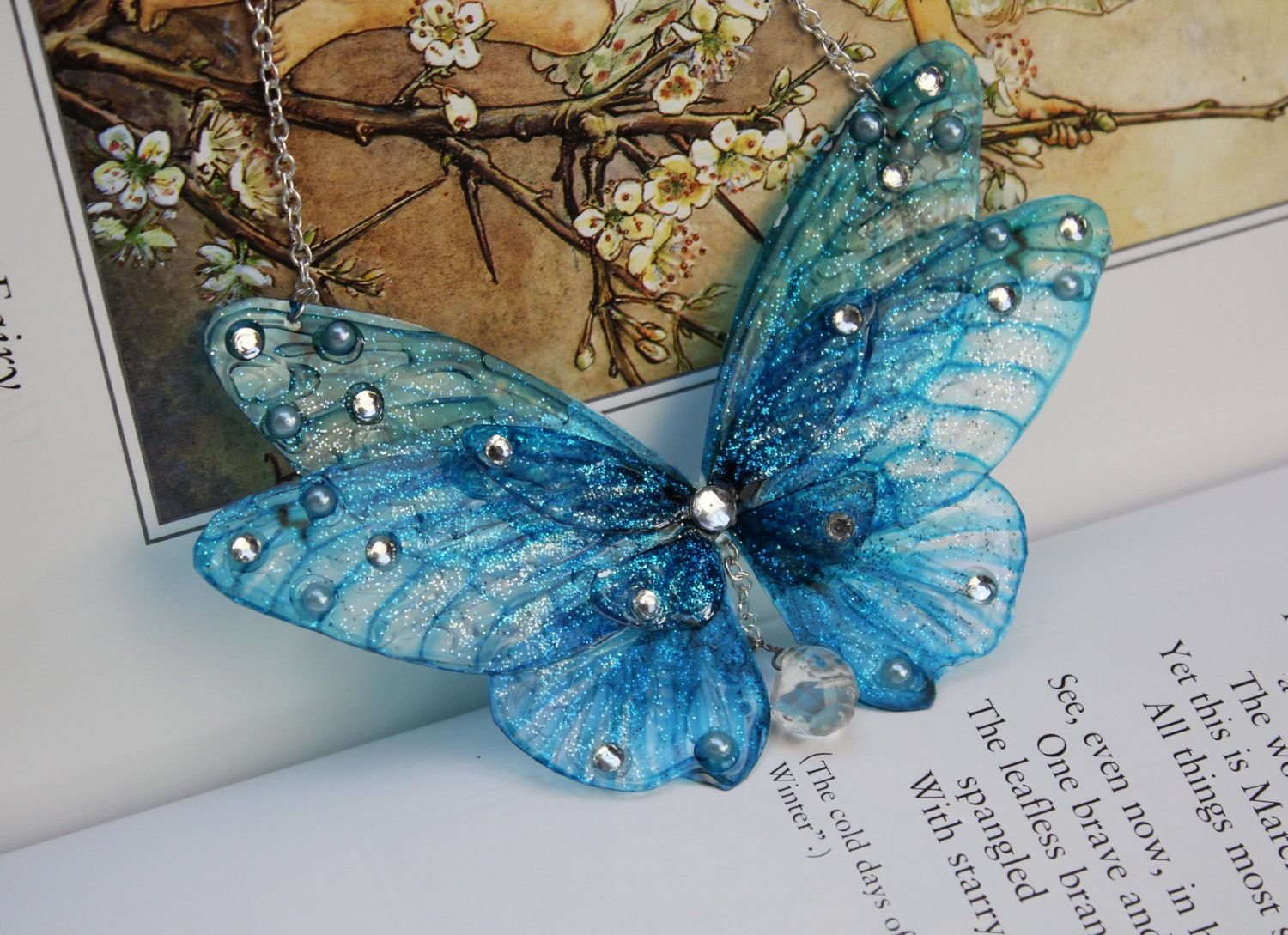 Ice Winter Blue Flower Fairy/Butterfly Wing Statement Necklace