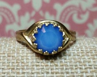 Blue Crystal Ring, Rhinestone Ring, Blue Opal Rhinestone, Swarovski Crystal, Adjustable Brass Ring, Victorian Style, Vintage Style