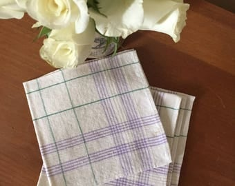 Vintage Set of 4 Linen Tea/Luncheon Napkins - Lavender & Green Plaid