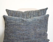 "16"" x 20"" Blue Tweed Throw Pillow Cover - Lumbar Pillow - COVER ONLY"