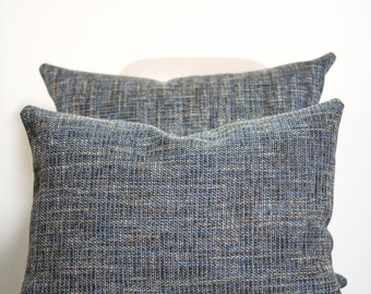 "16"" x 20"" Blue Tweed Throw Pillow Cover - COVER ONLY"