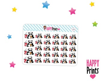 Panda bear, Eating pizza and soda, Planner Stickers, Kawaii stickers