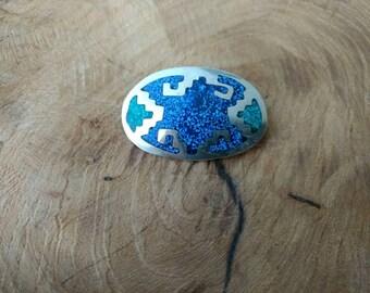 Vintage Brooch - Alpaca Mexico Silver - Tribal - Aztec