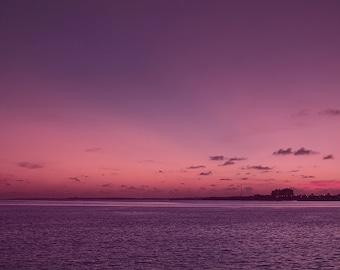 Sunset photography, sunset print, purple art, pink art, romantic, ocean art, sunset picture, framed sunset, 5x7,8x12, 12x18, 16x24, 24x36