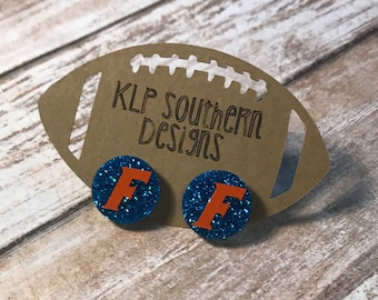 Glitter University of Florida Earrings / UF / Gators / SEC / Football / Jewelry
