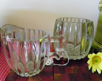 Jeannette National Clear Glass Creamer And Sugar Bowl - Hobnail And Ribbed