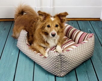 Dog bed, cat bed - dogs, cats, stripes, dots, nostalgic, white, old rose, pink, berry, shabby chic, country-style, red, purple