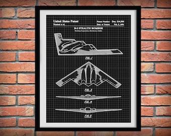 Patent 1991 B-2 Stealth Bomber Northrop Grumman Art Print - Wall Art - Poster - Aviation - Military Fighter Plane - B2 Spirit Plane