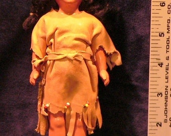Vintage Native American Doll & Clothes Celluloid