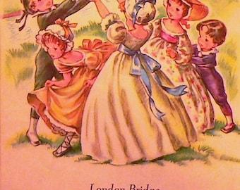 1947 London Bridge Matted Vintage Print Nursery Rhyme
