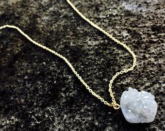 Natural Quartz Crystal Cluster Necklace