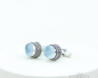 Round Shaped briolette cut Blue Chalcedony Vintage Filigree Antique 925 Fine S0LID Sterling Silver Men's / Unisex CUFFLINKS k740