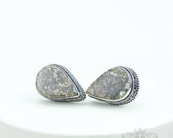TURRITELLA FOSSIL Vintage Filigree Antique 925 Fine S0LID Sterling Silver Men's / Unisex CUFFLINKS k742