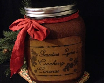 Primitive Christmas Pantry Jar~ Grubby Canister, Cookie Jar, Candy Jar, Primitive Kitchen Decor, Christmas Gift Jar, Farmhouse Christmas