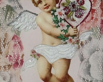 Cherub Valentine Card-Cupid,Pink,Vintage,Victorian,Pink,Sparkle,Fancy,Lace,Glitter,Valentines,Valentine's Day