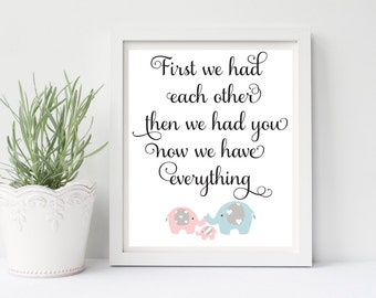 First We Had Each Other, Now We Have Everything, Elephant Wall Art, Elephant Wall Decor, Elephant Nursery Wall Decor, Nursery Wall Art, 001