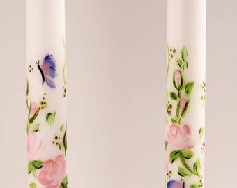 Hand Painted Taper Candles,  pink roses flowers