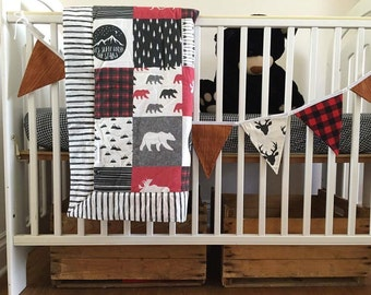 Lumberjack baby crib bedding blanket fitted sheet hunter bed set boy nursery transition bed