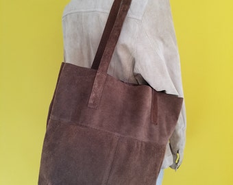Chocolate Brown Suede Handmade Tote Upcycled from Leather Coat